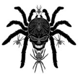 Spider Skull Tattoo Black and White royalty free illustration