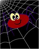 Spider on spiderweb 3. A spider on the spiderweb, on neutral black background.  Humorous style Royalty Free Stock Photography