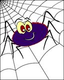Spider on spiderweb 2. A spider on the spiderweb, on neutral white background.  Humorous style Royalty Free Stock Photo