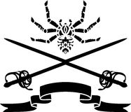Spider, a sword and a ribbon stencil Royalty Free Stock Images