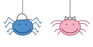Spider symbol boy and girl Royalty Free Stock Images