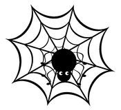 Spider. Vector illustration of a funny spider on web Stock Photo