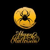Spider vector illustration with Happy Halloween lettering. All Saints Eve background. Festive card design Royalty Free Stock Image