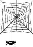 Spider web. Black and white illustration of a spider hanging down from a web Stock Images