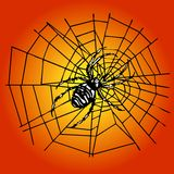 Spider in the web. A Spider in the net above a gradient background. This file is also available as Illustrator-File Royalty Free Stock Photos