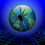 Spider web around the earth Stock Images