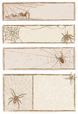Spider Web Banners. Vector art in Illustrator 8. Each banner on separate layer. All objects are complete images and can be separated and/or rearranged Royalty Free Stock Images