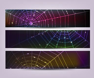 Spider web banners. Set of dark banners with spider web and shining water drops Royalty Free Stock Photography