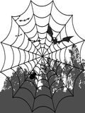Spider web and bats Stock Images