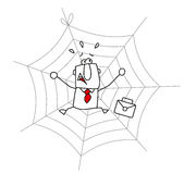 Spider web and the businessman Royalty Free Stock Photos