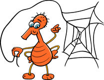 Spider with web cartoon Stock Image