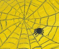 Spider and web - childs drawing Stock Photo