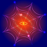 Spider web, cobweb with fire eye. Vector illustration Stock Images
