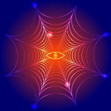 Spider web, cobweb with fire eye. Vector illustration Royalty Free Stock Photo