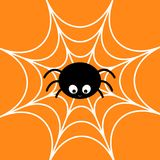 Spider on the web. Cobweb white. Cute cartoon baby insect character. Happy Halloween card. Flat design. Orange background. Royalty Free Stock Images
