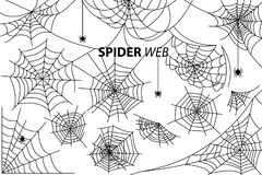 Spider Web Collection of Illustrations on White. Spider web collection of vector illustrations with inscription  on white background. Black silhouettes of small Royalty Free Stock Images