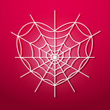 Spider web in the form of heart Stock Image