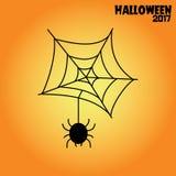 Spider web halloween illustration black on orange. Background Stock Photography
