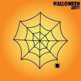 Spider web halloween illustration black on orange. Background Stock Images