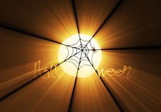 Spider web on Halloween light flare Royalty Free Stock Photography