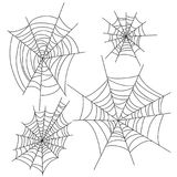 Spider web halloween vector decorations set. Cobweb party design elements. EPS10 + JPEG preview royalty free illustration