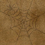 Spider and web. Hand draw on brown paper . use for Halloween day Royalty Free Stock Photography