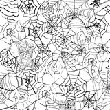 Spider web hand drawn grunge seamless pattern for halloween party background. Horror style Royalty Free Stock Photo