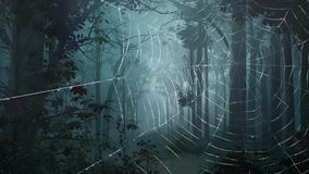 Spider web in haunted forest 4K