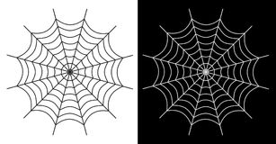 Spider web  icon white and black color. On white and black background - Vector illustration Stock Images