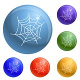 Spider web icons set vector. 6 color isolated on white background vector illustration