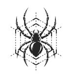 Spider and web monochrome symbol. Stock Photography