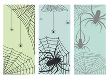 Spider web silhouette arachnid fear graphic flat scary animal design nature insect danger horror halloween vector cards. Royalty Free Stock Photos