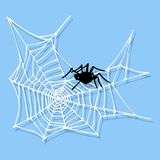 Spider web silhouette arachnid fear graphic flat scary animal design   Royalty Free Stock Image