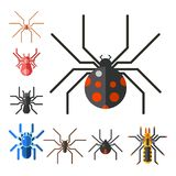 Spider web silhouette arachnid fear graphic flat scary animal design nature insect danger horror halloween vector icon. Royalty Free Stock Photo