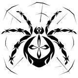 Spider in the web. Spider in spider web stylized black on white background vector illustration Stock Photography