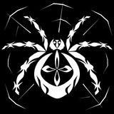 Spider in the web. Spider in spider web stylized white on black background vector illustration Royalty Free Stock Photo