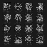 Spider web white line with reflection icon set. Spider web white thin line with reflection icon set. Cobweb vector isolated linear symbol pack. Spiderweb outline Stock Image