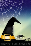 Spider on witch hat Stock Photo