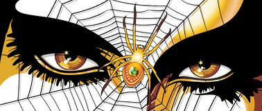 Spider Woman Golden Eyes. Weird Golden Spider Woman`s Eyes, with a spider web on the face, and a Golden Spider with an Emerald on the Center of the Web. Vector stock illustration