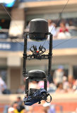 Spidercam aerial camera system used for broadcast from Arthur Ashe Stadium at the Billie Jean King National Tennis Center Stock Images