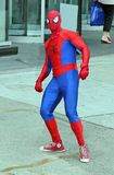 Spiderman. A man dressed up in a Spiderman outfit in Dandas Square,Toronto, Canada Royalty Free Stock Image