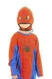 Spiderman. Young boy dressed as Spiderman with no expressions. White background Royalty Free Stock Photos