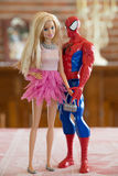 Spiderman and Barbie togheter Royalty Free Stock Photo