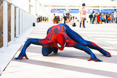 Spiderman cosplay. Spiderman in action event Romics 2015 Stock Image