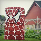 Spiderman Hay Bales Royalty-vrije Stock Afbeeldingen