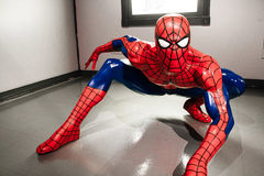Spiderman at the Madame Tussauds Hollywood. HOLLYWOOD, USA - OCTOBER 27, 2014: Spiderman at the Madame Tussauds Hollywood wax museum. It is a major tourist stock photos