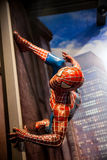 Spiderman Marvel comics in Madame Tussauds Wax museum in Amsterdam, Netherlands. Amsterdam, Netherlands - March, 2017: Spiderman Marvel comics in Madame Tussauds Royalty Free Stock Photo