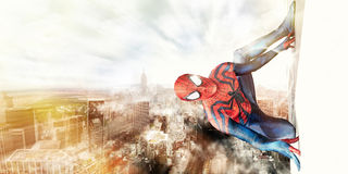 Spiderman and New York City. Romics 2015, Rome Italy. Posters created by me exclusively for sponsoring the international event. Festival of comics, cartoons and Stock Photos