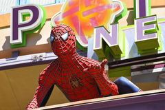 Spiderman Protects Downtown Las Vegas. Spiderman patrols the streets of Las Vegas Royalty Free Stock Image