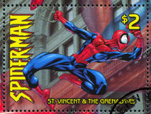 Spiderman. ST. VINCENT GRENADINES - CIRCA 2003: stamp printed by St. Vincent Grenadines, shows Spiderman, circa 2003 royalty free stock image